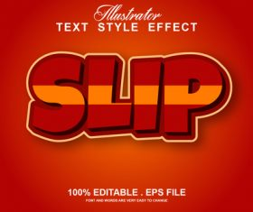 Slip text style effect vector