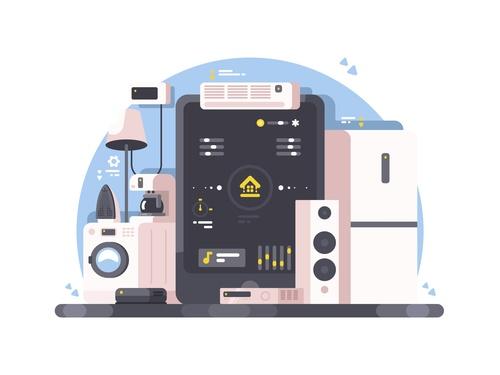 Smart home cartoon illustration vector