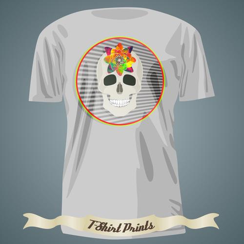 Smiling skull t shirts prints design vector