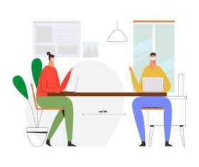 Social distancing meeting with mask illustration vector