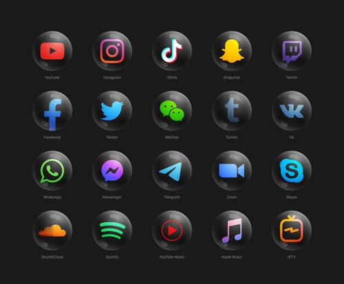 Social media black icon vector