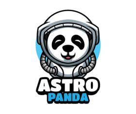 Space panda cartoon vector