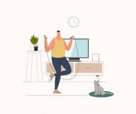 Sport activities at home illustration vector
