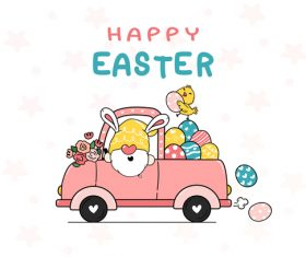 Spring easter gnome eggs cartoon clipart vector