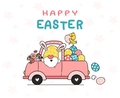 Spring easter gnome eggs cartoon clipart vector