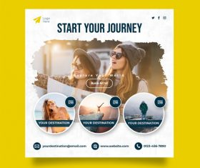 Start your journey travel cover card vector