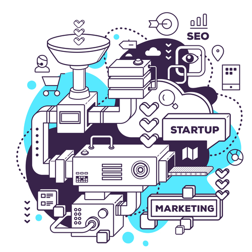 Startup marketing business concept vector