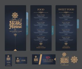 Steak house menu cover vector