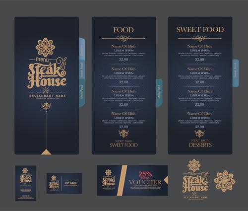 Steak house menu cover vector
