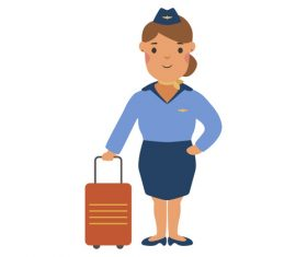 Stewardess profession character vector