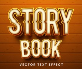 Story book editable font text design vector