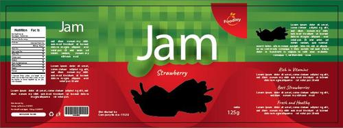 Strawberry jam packaging design vector