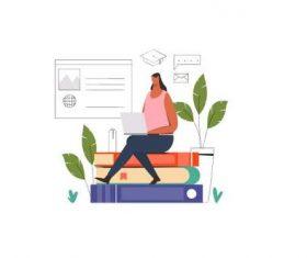 Student studying online illustration vector