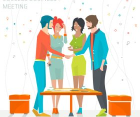 Success business meeting cartoon illustration vector