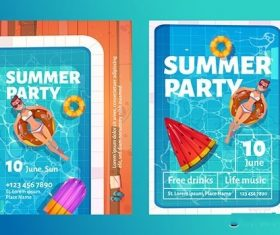 Summer party cartoon flyers vector