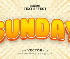Sunday editable text effect vector
