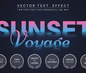 Sunset editable font text design vector
