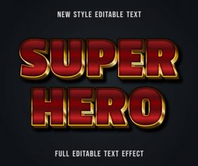 Super hero editable text effect vector