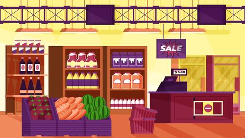 Super market interior illustration background vector