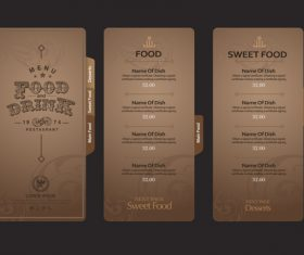 Sweet food menu card vector