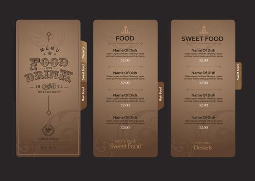 Sweet food menu card vector