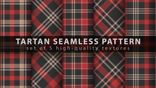 Tartan black and red seamless pattern vector