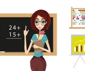 Teacher cartoon illustration vector