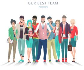 Team cartoon illustration vector