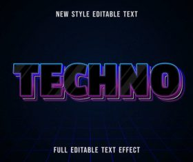 Techno editable text effect vector