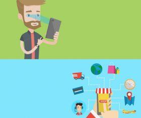 Technology life cartoon illustration vector