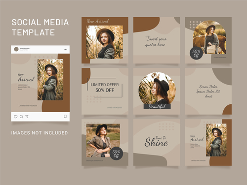 Template puzzle instagram feed fashion women vector