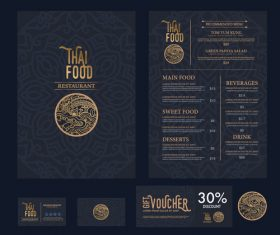 Thai food menu cover vector