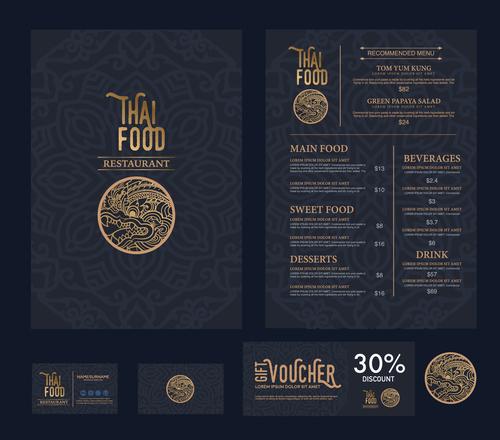 Thai food menu cover vector