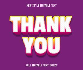 Thank you editable text effect vector