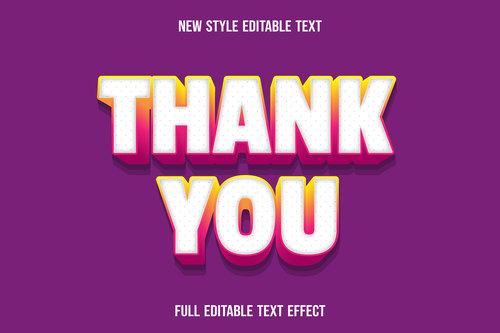 Thank you editable text effect vector