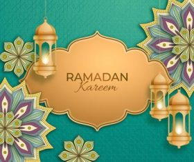 The art of paper-cut Ramadan Kareem card vector