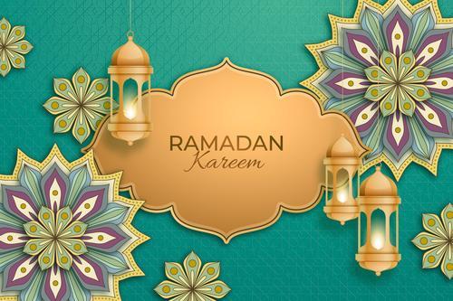 The art of paper cut Ramadan Kareem card vector