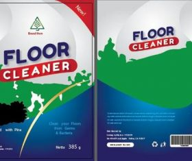 Three-color floor cleaner packaging vector