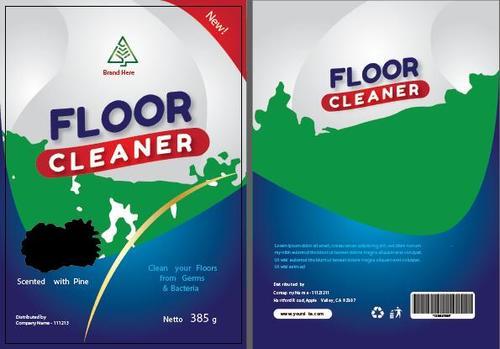 Three color floor cleaner packaging vector
