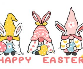 Three cute sweet easter bunny ears gnome banner vector