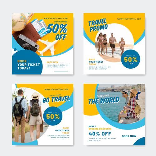Travel agency promotion poster design vector