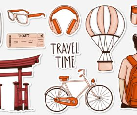 Travel time sticker vector