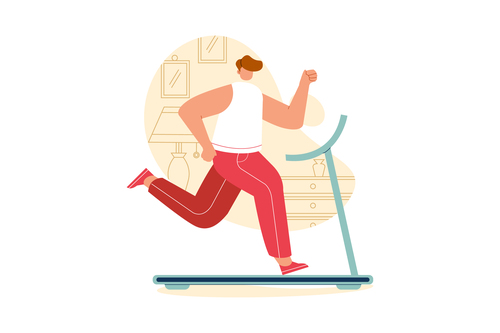 Treadmill exercise cartoon illustration vector