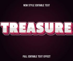 Treasureeditable text effect vector