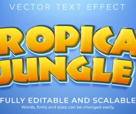 Tropical jungle vector text effect