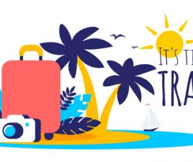 Tropical travel illustration vector