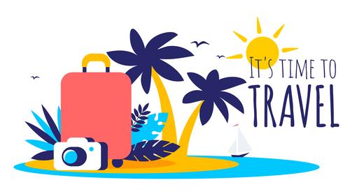 Tropical travel illustration vector