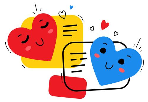 Two heart shaped cartoon illustration vector