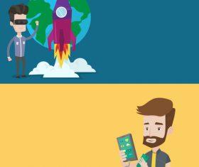 VR technology cartoon illustration vector