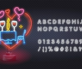 Valentine's day neon style logo and font background vector